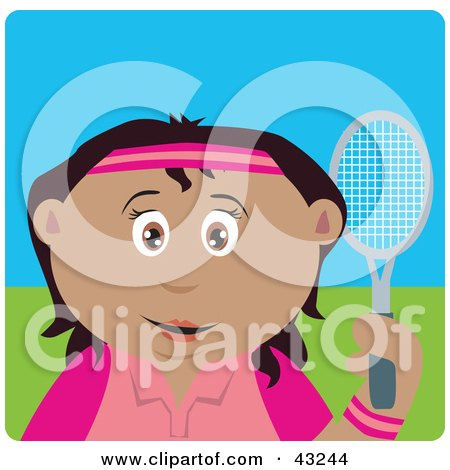 Clipart Illustration of a Mexican Girl Holding A Tennis Racket by Dennis Holmes Designs