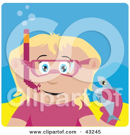 Clipart Illustration of a Caucasian Girl Snorkeling And Holding A Fish by Dennis Holmes Designs
