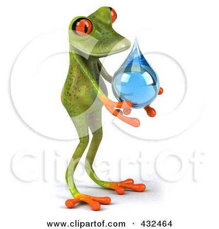 Royalty-Free (RF) Clipart Illustration of a 3d Springer Frog Holding A Water Droplet - 1 by Julos