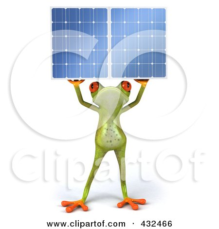 Royalty-Free (RF) Clipart Illustration of a 3d Springer Frog Holding A Solar Panel - 4 by Julos