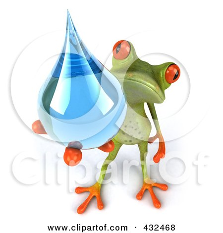 Royalty-Free (RF) Clipart Illustration of a 3d Springer Frog Holding A Water Droplet - 2 by Julos