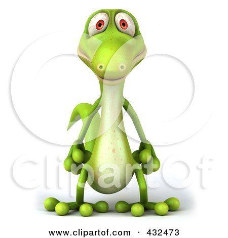 Royalty-Free (RF) Clipart Illustration of a 3d Green Lizard by Julos