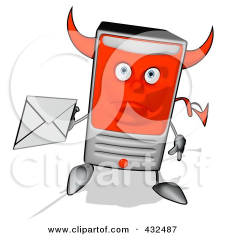 Royalty-Free (RF) Clipart Illustration of a Devil Cartoon Computer Tower Holding An Envelope - 5 by Julos