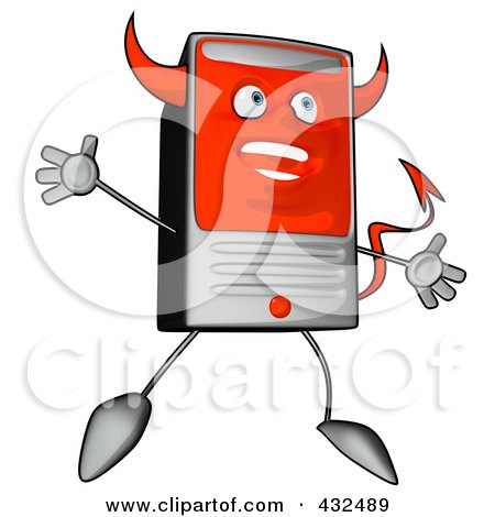Royalty-Free (RF) Clipart Illustration of a Devil Cartoon Computer Tower Jumping by Julos