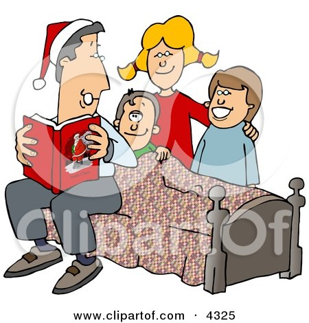 Father Reading a Bedtime Christmas Story to His Sons and Daughter Posters, Art Prints