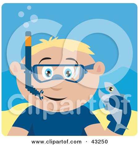 Clipart Illustration of a Caucasian Boy Snorkeling And Holding A Fish by Dennis Holmes Designs