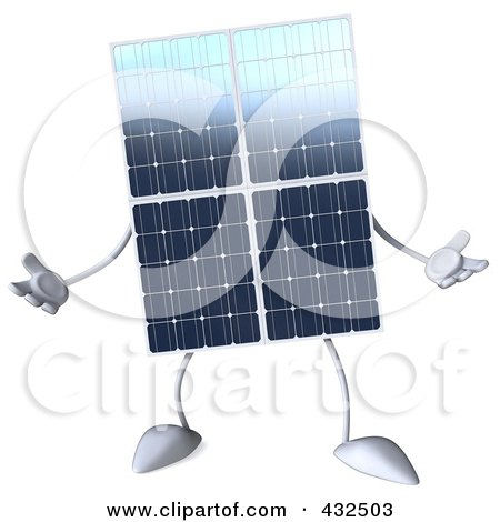 Royalty-Free (RF) Clipart Illustration of a 3d Solar Panel Character Facing Front And Gesturing by Julos