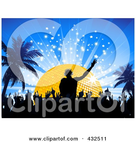Royalty-Free (RF) Clipart Illustration of a Silhouetted Crowd On The Dance Floor Below A Male Dj, In Front Of A Golden Disco Ball On A Blue Bursting Background With Palm Trees by elaineitalia