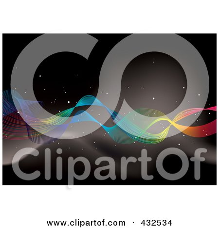 Royalty-Free (RF) Clipart Illustration of a Rainbow Ribbon In Outer Space by michaeltravers