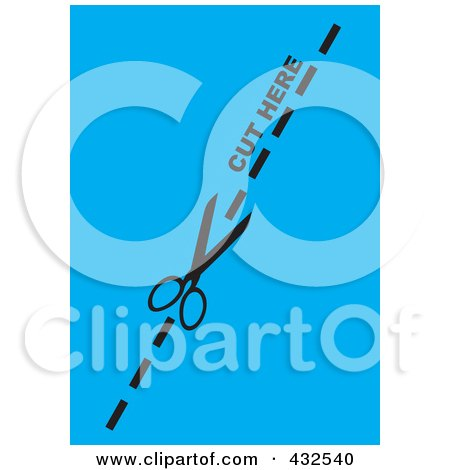 Pair Of Scissors Cutting On The Dotted Line Over Blue Posters, Art Prints