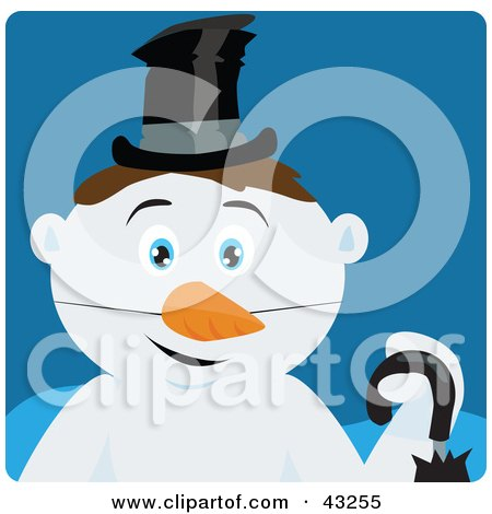 Clipart Illustration of a Snowman With Brown Hair And Blue Eyes by Dennis Holmes Designs
