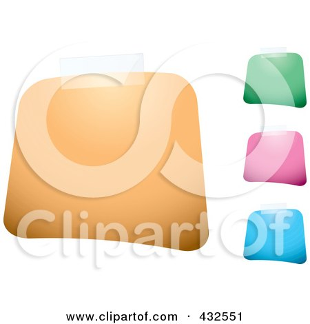 Royalty-Free (RF) Clipart Illustration of a Digital Collage Of Colorful Blank Square Labels With Tape by michaeltravers