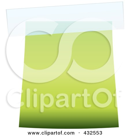 Royalty-Free (RF) Clipart Illustration of a Blank Green Label With Tape by michaeltravers