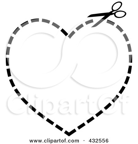 Royalty-Free (RF) Clipart Illustration of a Pair Of Scissors Cutting On A Dotted Line In The Shape Of A Heart by michaeltravers