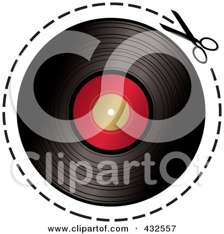Royalty-Free (RF) Clipart Illustration of a Pair Of Scissors Cutting On A Dotted Line Around A Vinyl Record by michaeltravers