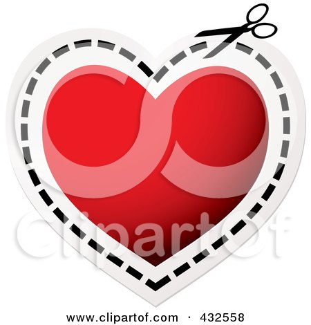 Royalty-Free (RF) Clipart Illustration of a Pair Of Scissors Cutting On A Dotted Line Around A Red Heart by michaeltravers
