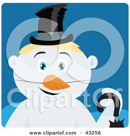 Clipart Illustration of a Snowman With Blond Hair And Blue Eyes by Dennis Holmes Designs