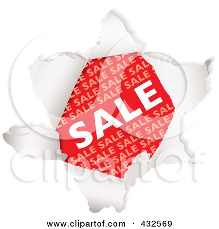 Royalty-Free (RF) Clipart Illustration of a Red Sale Advertisement Through Torn Paper by michaeltravers