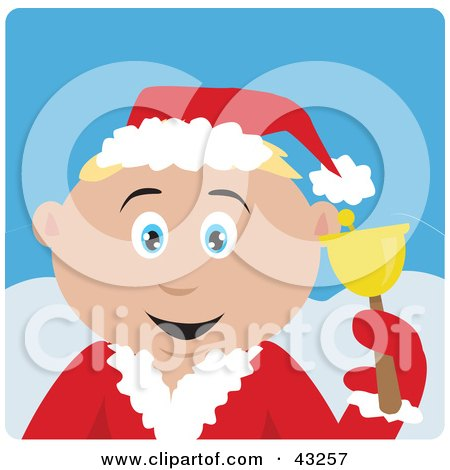 Clipart Illustration of a Caucasian Bell Ringer Boy Calling For Christmas Donations by Dennis Holmes Designs