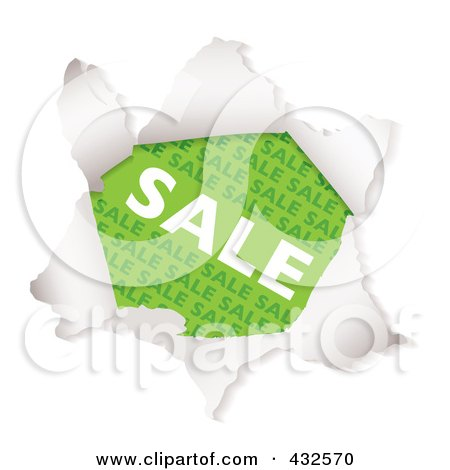 Royalty-Free (RF) Clipart Illustration of a Green Sale Advertisement Through Torn Paper by michaeltravers