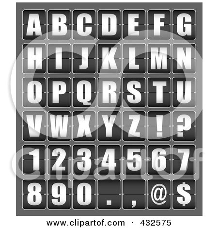 Royalty-Free (RF) Clipart Illustration of a Digital Collage Of Ticker Board Alphabet Letters And Symbols by michaeltravers