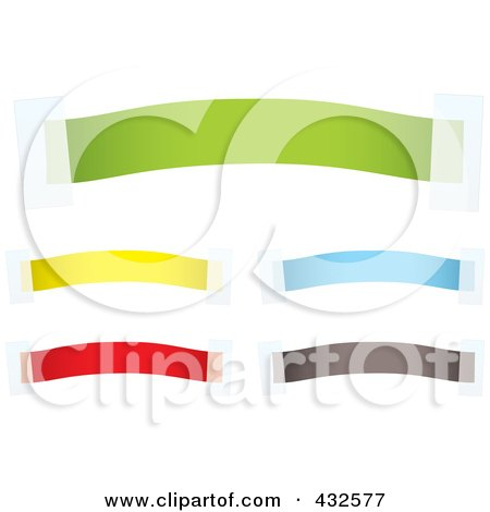 Royalty-Free (RF) Clipart Illustration of a Digital Collage Of Colorful Blank Banners With Tape - 1 by michaeltravers