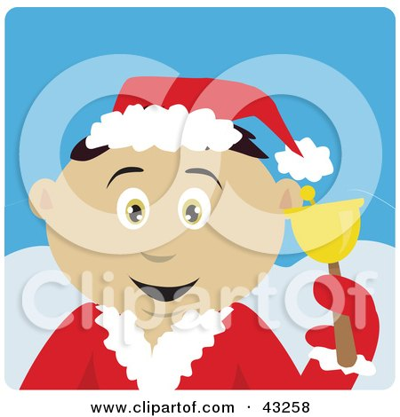 Clipart Illustration of a Mexican Bell Ringer Boy Calling For Christmas Donations by Dennis Holmes Designs