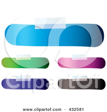 Royalty-Free (RF) Clipart Illustration of a Digital Collage Of Blank Colorful Bandage Shaped Labels With Tape by michaeltravers