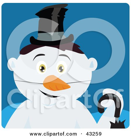 Clipart Illustration of a Snowman With Black Hair And Green Eyes by Dennis Holmes Designs