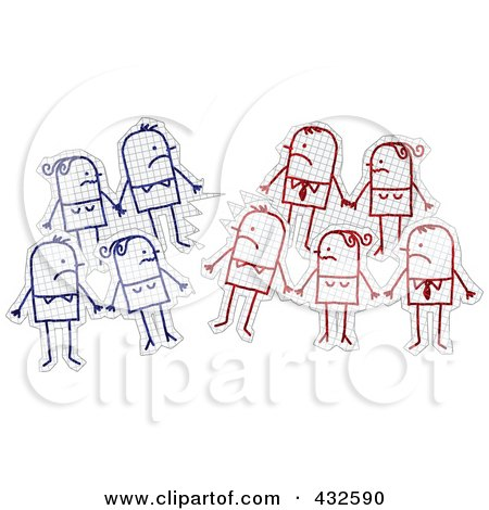Royalty-Free (RF) Clipart Illustration of Groups Of Stick People Staring At Their Opponents On Graph Paper by NL shop