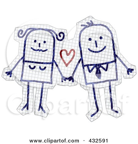 Royalty-Free (RF) Clipart Illustration of a Happy Stick Couple Holding Hands On Graph Paper by NL shop
