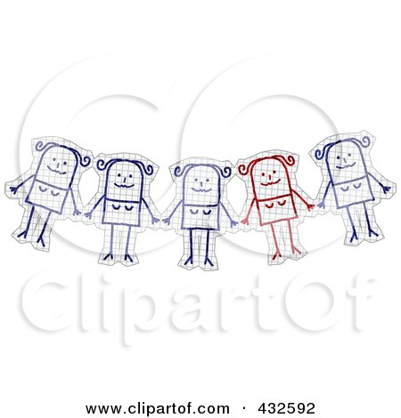 Royalty-Free (RF) Clipart Illustration of a Unique Red Stick Woman Standing Out Of A Group On Graph Paper by NL shop