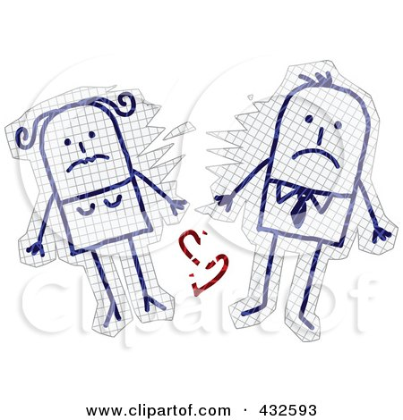Royalty-Free (RF) Clipart Illustration of a Broken Up Stick Couple With A Shattered Heart On Graph Paper by NL shop