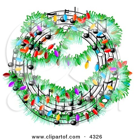Clipart of Christmas music symbols decorated with lights.