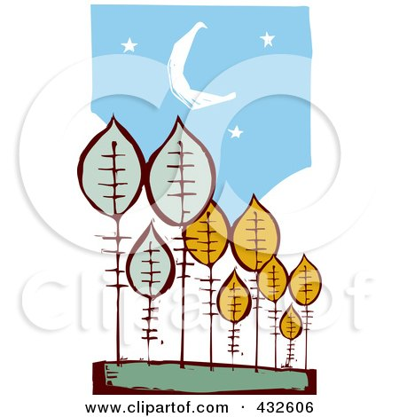 Royalty-Free (RF) Clipart Illustration of a Abstract Autumn Trees Under A Night Sky by xunantunich