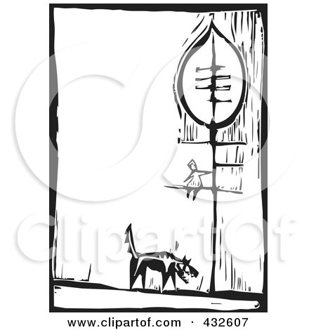 Royalty-Free (RF) Clipart Illustration of a Black And White Wolf Under A Girl In A Tree Woodcut Panel by xunantunich