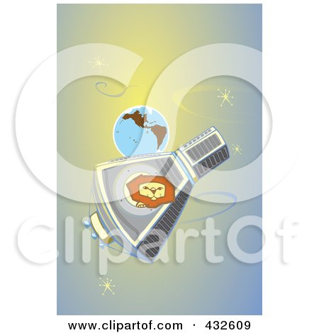 Royalty-Free (RF) Clipart Illustration of a Lion In Orbit Around Earth by xunantunich
