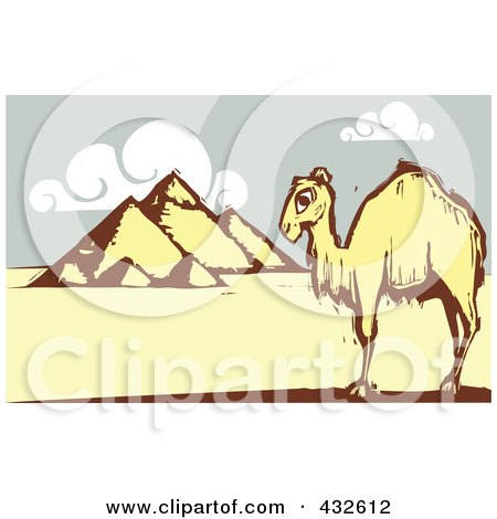 Royalty-Free (RF) Clipart Illustration of a Lone Camel Near The Egyptian Pyramids by xunantunich