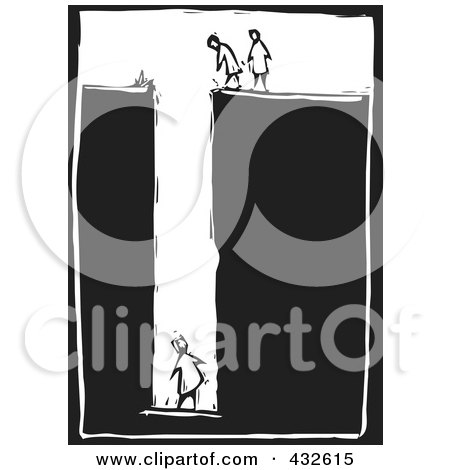 Royalty-Free (RF) Clipart Illustration of a Black And White Woman Trapped Woodcut Panel by xunantunich