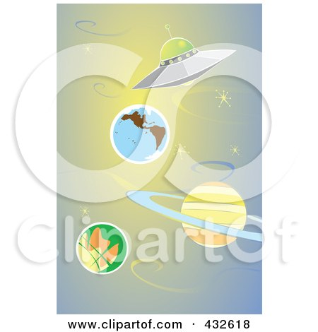 Royalty-Free (RF) Clipart Illustration of a Ufo Flying Through The Solar System by xunantunich