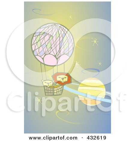 Royalty-Free (RF) Clipart Illustration of Lions In A Hot Air Balloon, Floating Past A Planet by xunantunich