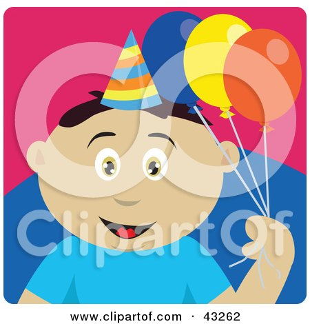 Clipart Illustration of a Mexican Birthday Boy Holding Balloons by Dennis Holmes Designs