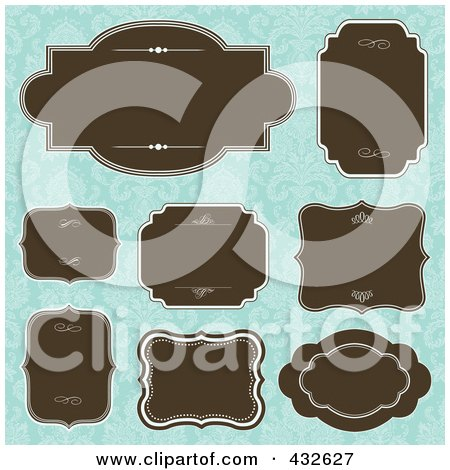 Royalty-Free (RF) Clipart Illustration of a Digital Collage Of Blank Frame Designs - 5 by BestVector
