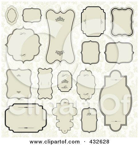 Royalty-Free (RF) Clipart Illustration of a Digital Collage Of Blank Frame Designs - 1 by BestVector