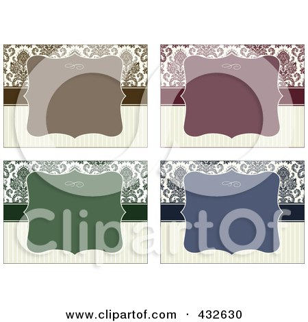 Royalty-Free (RF) Clipart Illustration of a Digital Collage Of Blank Frame Designs - 4 by BestVector