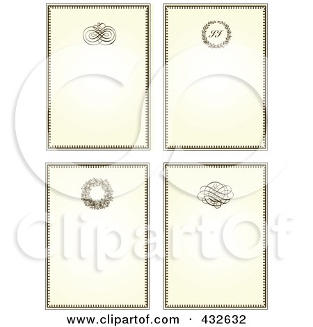 Royalty-Free (RF) Clipart Illustration of a Digital Collage Of Four Ornate Antique Frames by BestVector