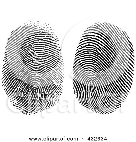 Royalty-Free (RF) Clipart Illustration of a Digital Collage Of Two Fingerprints by BestVector