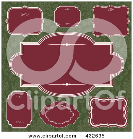 Royalty-Free (RF) Clipart Illustration of a Digital Collage Of Blank Frame Designs - 3 by BestVector