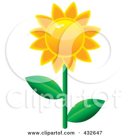 Royalty-Free (RF) Clipart Illustration of a Shiny Sunflower by Pams Clipart