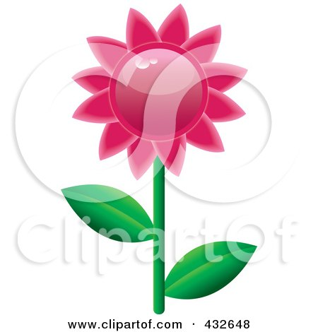 Royalty-Free (RF) Clipart Illustration of a Shiny Pink Daisy by Pams Clipart